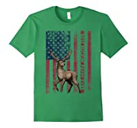 Best Buckin' Pappy Ever Us Flag Hunting Tshirt Fathers Gifts Forest Green