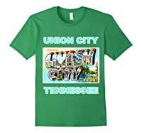 Lotta Shirts Union City Tennessee Postcard Greeting T Shirt Forest Green
