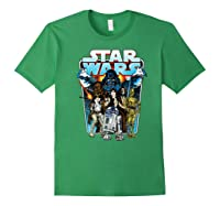 S Classic Comic Art Group Shot Darth Vader Shirts Forest Green