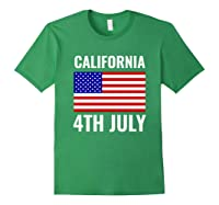 California Independence Day 4th July American Us Flag Gift Shirts Forest Green