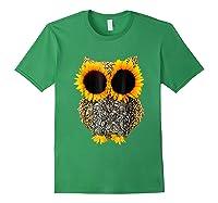 Owl Sunflower Shirt Funny Owl Lovers Shirt Forest Green