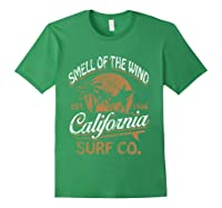 Retro Surf Shirt California Surfer Gift Cali Forest Green