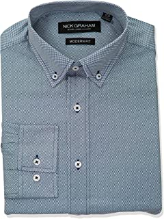 Men's Micro Dot Print Stretch Dress Shirt