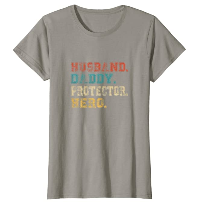 Husband Daddy Protector Hero Shirt Fathers Day Gift Dad Son Unisex Tshirt