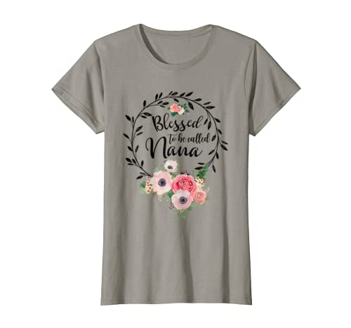 Womens Blessed Nana Floral Grandma Mother's Day Gift T Shirt