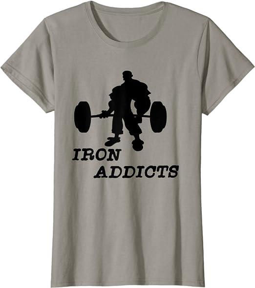 Addicted to Iron-Gym Bodybuilding Training Motivation T-Shirt MMA Entraînement Top