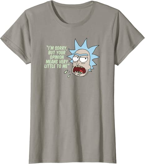 Rick /& Morty Inspired Mens Comedy T-Shirt Your Opinion Means Very Little To Me