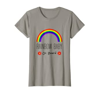 61314919f8ca6 Amazon.com: Womens Rainbow Baby On Board. Cute Pregnancy ...