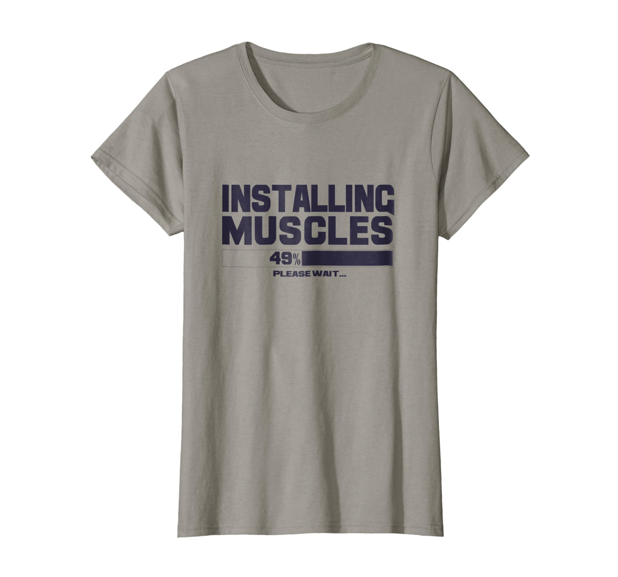 Installing Muscles T-Shirt Funny Sport Gym Bodybuilding Tee Humor & Funny Quote T-Shirts