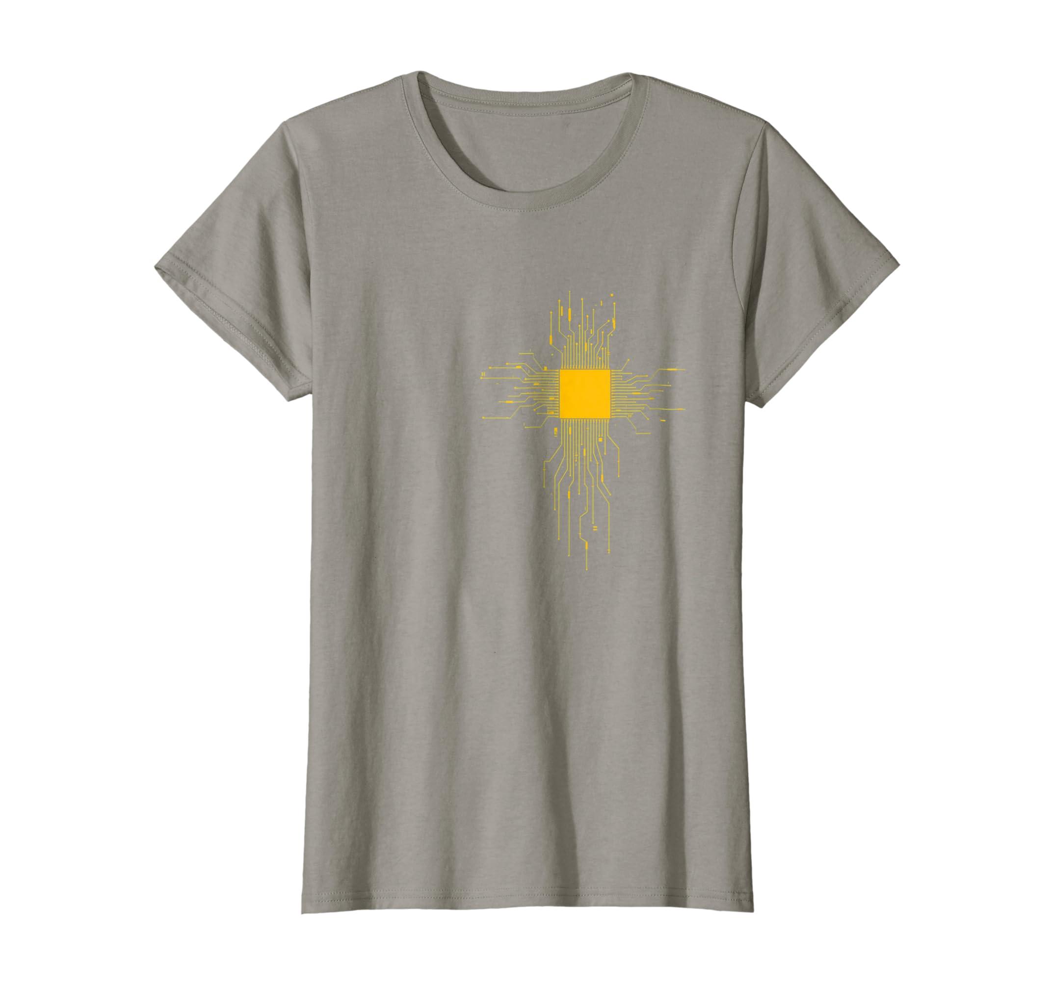 7b3b5226c0a79 Amazon.com  NERD GOLD CPU HEART - circuit electronics board T-Shirt   Clothing