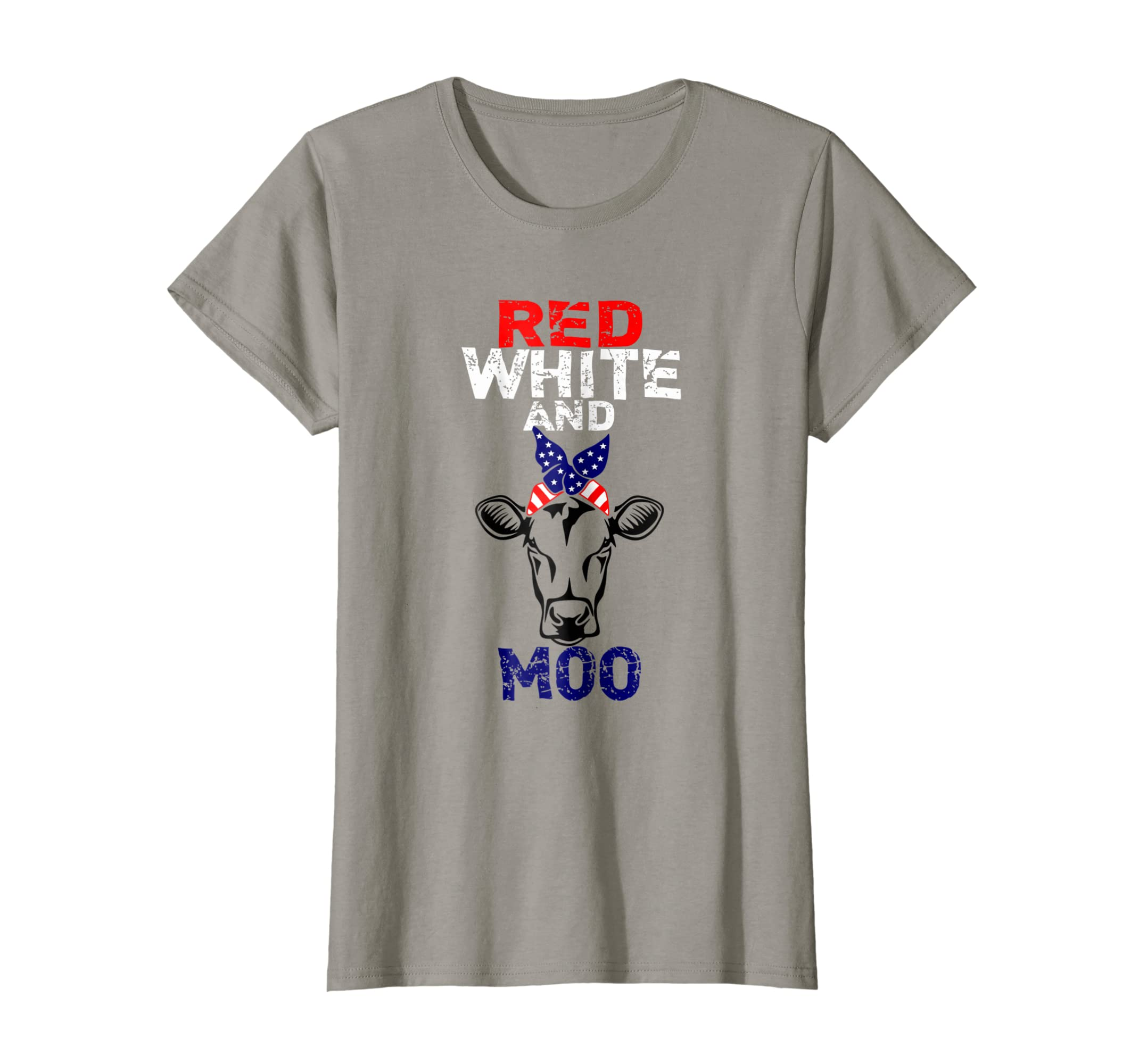 b53bd6ef Amazon.com: Red White and Moo Patriotic USA Flag Bandana Cow T-Shirt:  Clothing