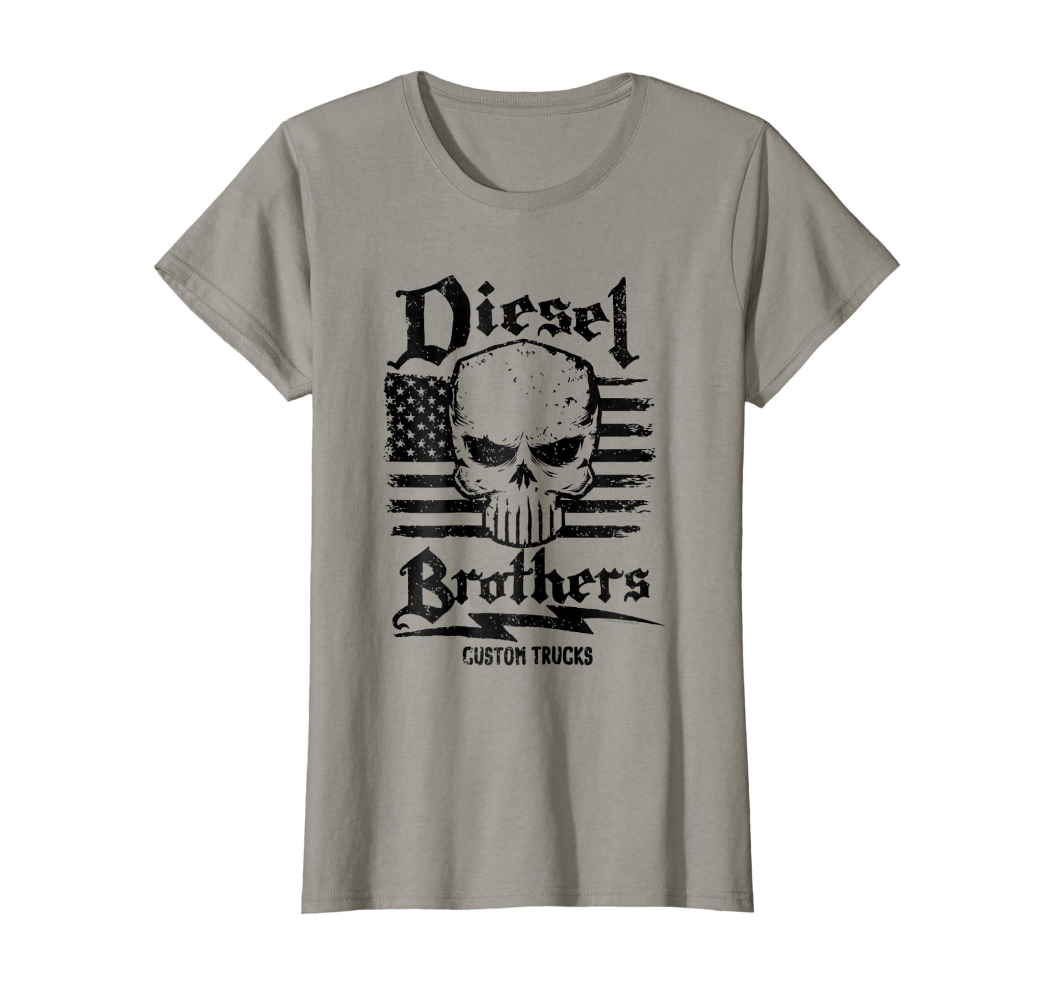 83d907a3 Amazon.com: Diesel Brothers Custom Trucks Skull USA Flag Graphic T-Shirt:  Clothing