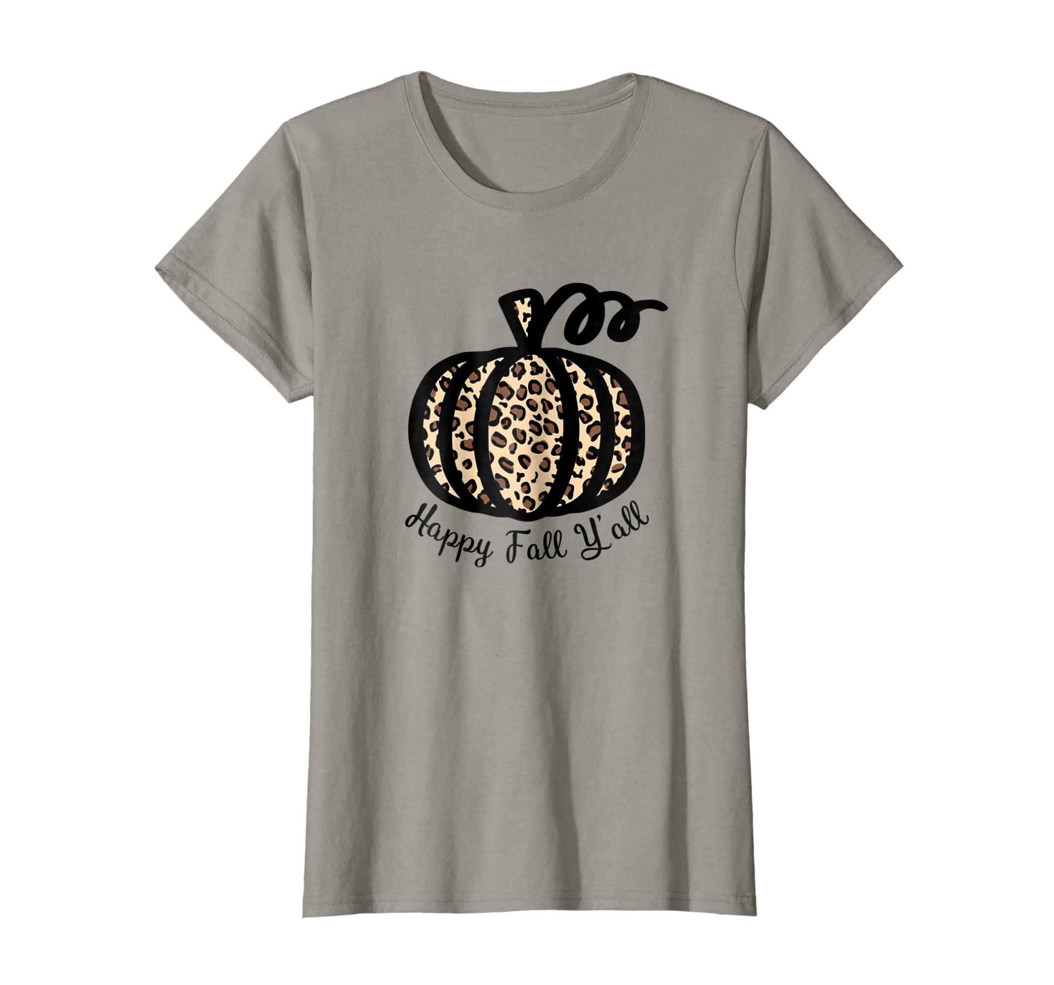 Amazon Happy Fall Yall Leopard Print Pumpkin T Shirt Rustic