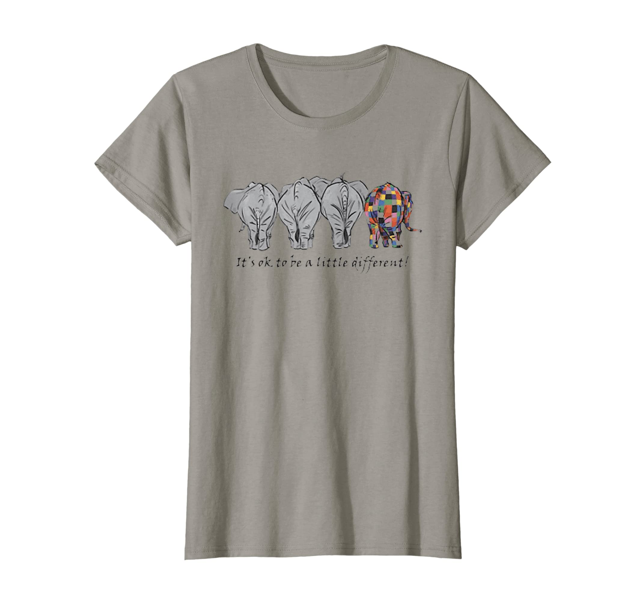 45b60f280 Amazon.com  Elephants It s Ok To be A Little Different T-Shirt  Clothing