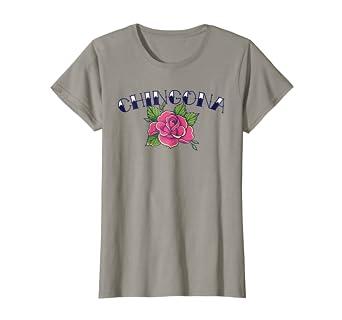 Amazoncom Womens Chingona T Shirt Pink Rose Vintage Tattoo Style