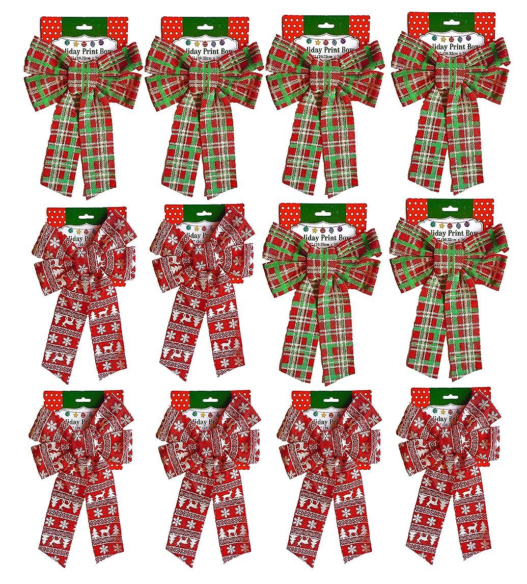 Set of (12) Christmas Holiday Glitter Print Bow, Plaid & Scandinavian 6 Of Each