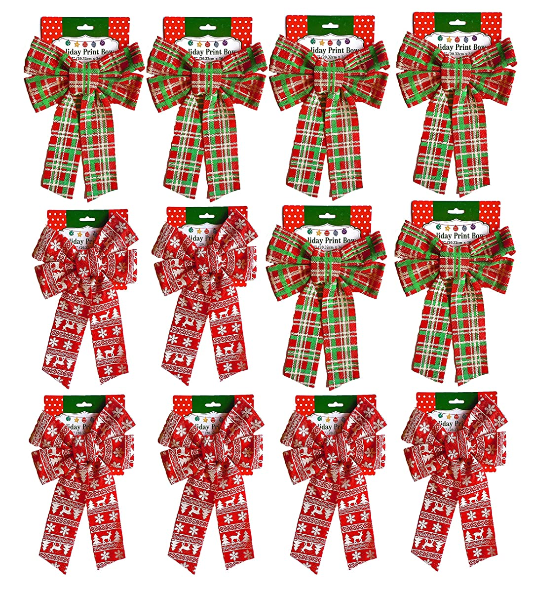 Set of (12) Christmas Holiday Glitter Print Bow, Plaid & Scandinavian 6 Of Each