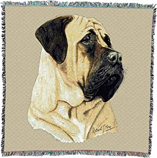 Pure Country Weavers - Bullmastiff Woven Throw Blanket with Fringe Cotton. USA Size 54x54