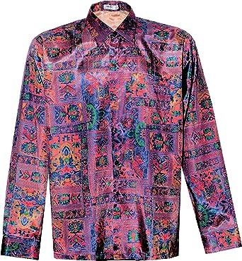 Thai Silk Camisa de hombre manga larga patrón gráfico