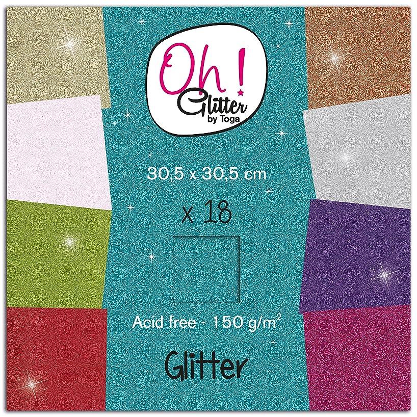 Oh ! Glitter pwg11?Glitter Pad Paper 18?Sheets Colourful 30.5?x 30.5?x 0.5?cm
