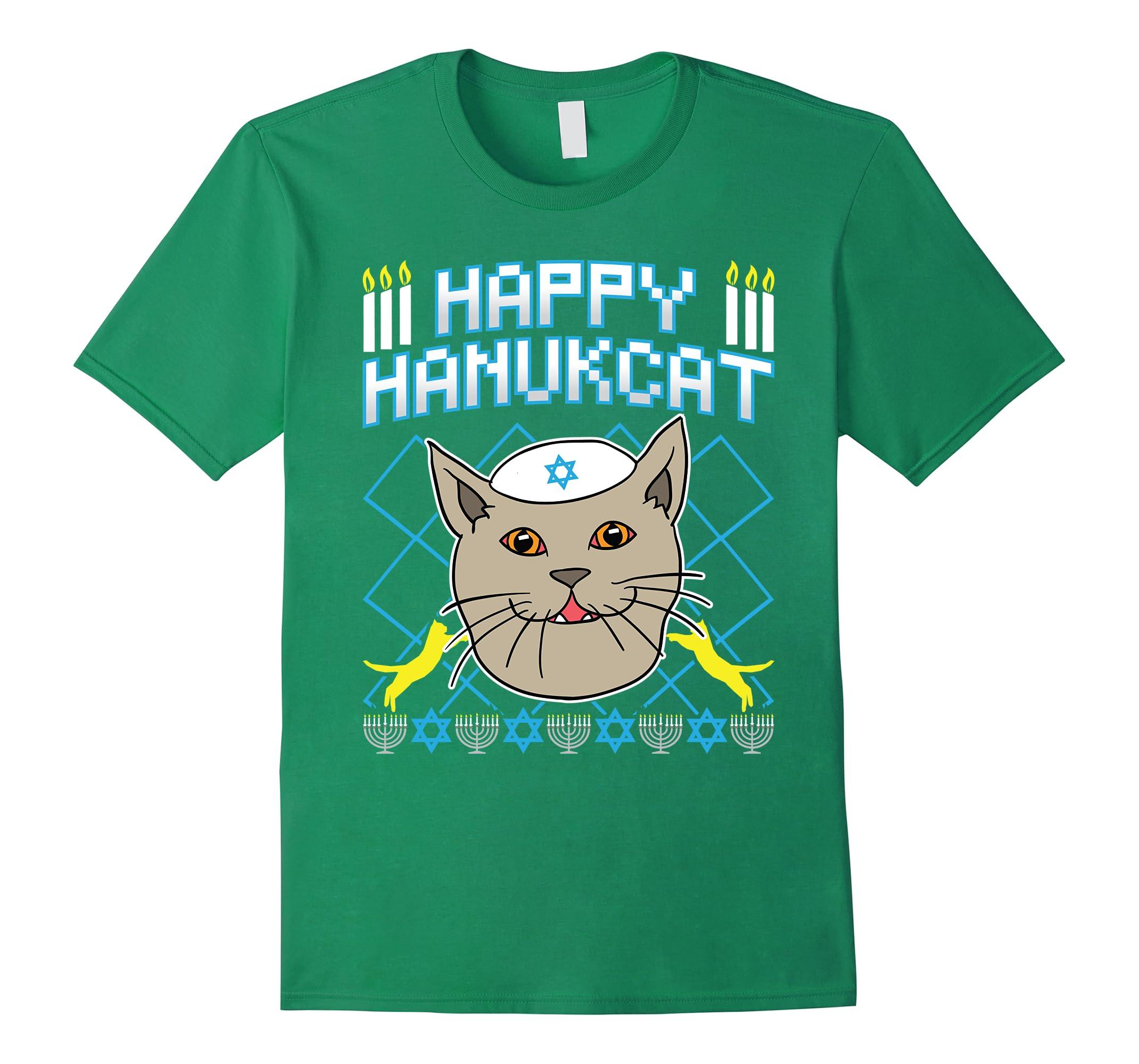 Jewish Christmas Sweater.Happy Hanukcat Shirt Jewish Ugly Cat Christmas Sweater Shirt Rt