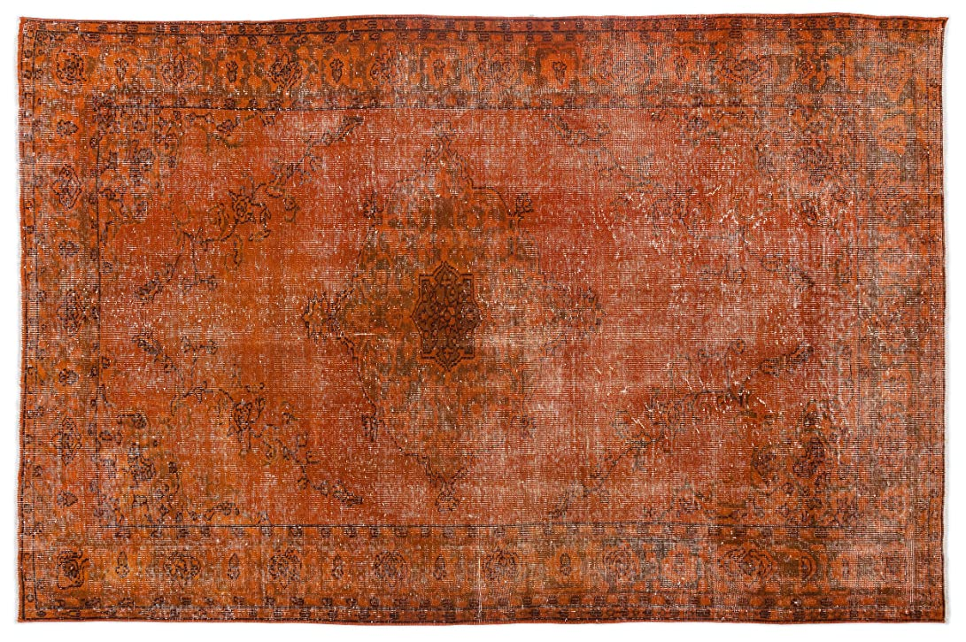 アライメント導入する盆地Bespoky ビンテージ 手織 ラグ オレンジ 大きいサイズ 180 X 275 Cm