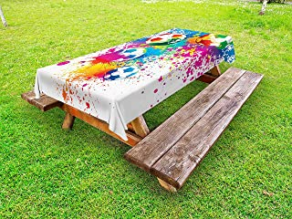 Ambesonne Soccer Outdoor Tablecloth, Colored Splashes All Over Soccer Balls Score World Cup Championship Athletic, Decorative Washable Picnic Table Cloth, 58