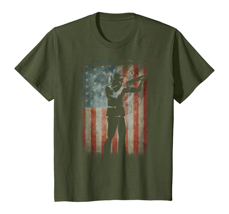 Vintage Flag American Skeet Shooting lovers gifts friends T-Shirt