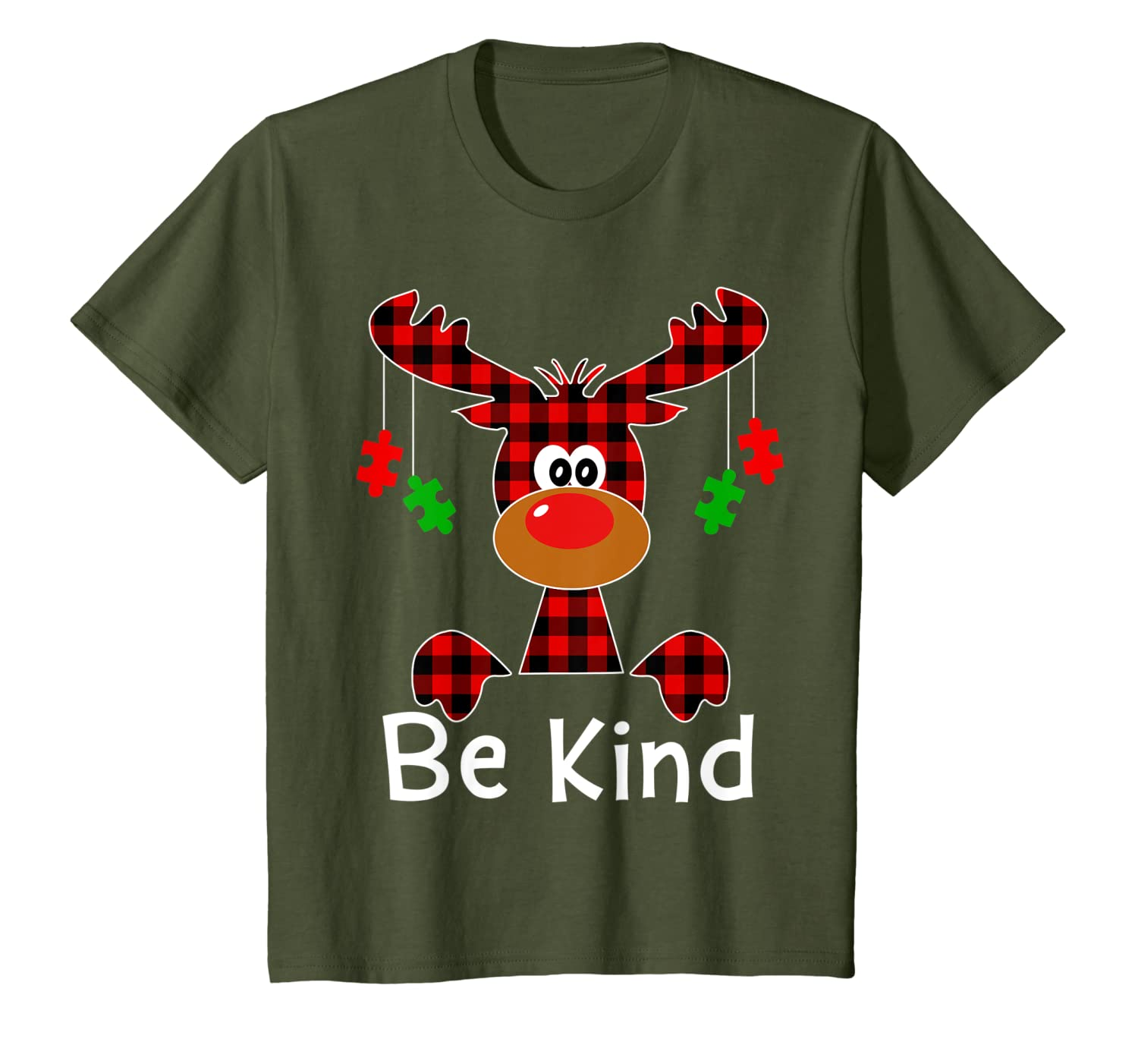 Be Kind Autism Awareness Christmas Reindeer Hippie Bullying T-Shirt