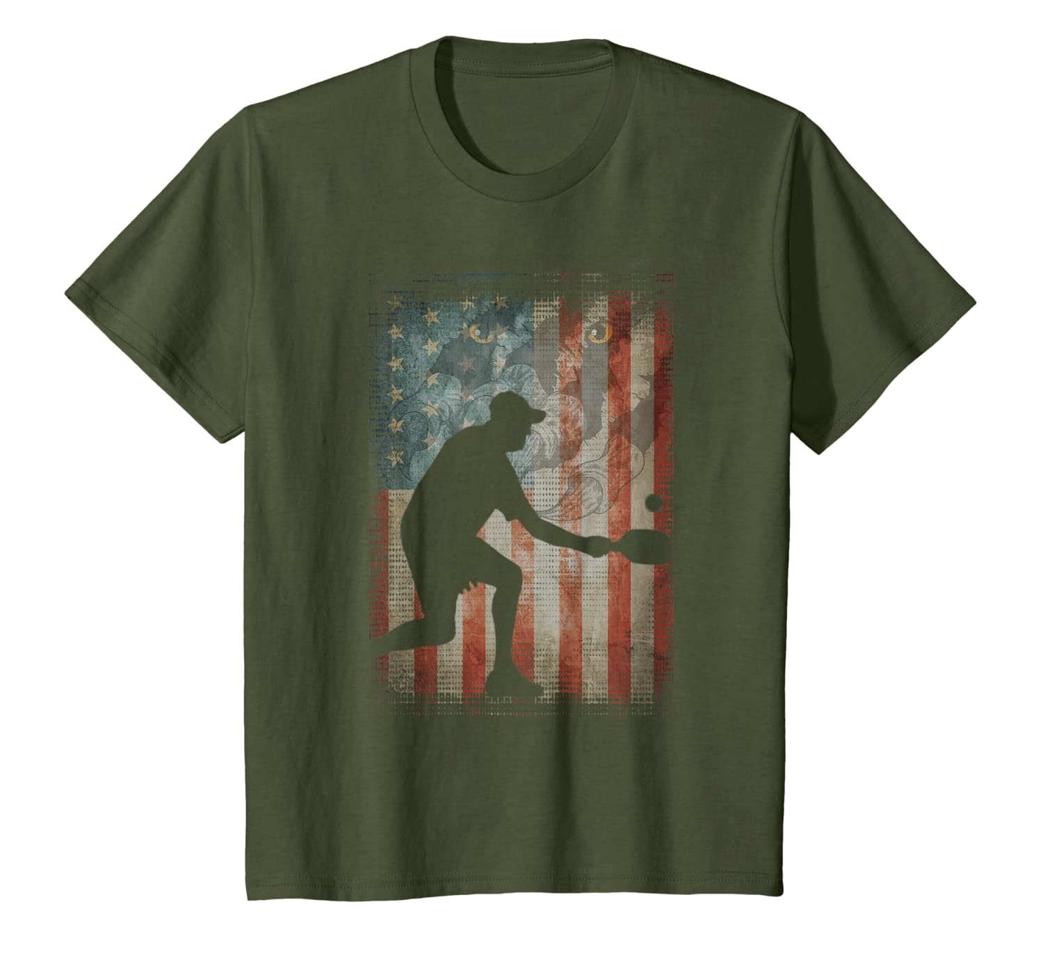 Vintage Flag American Pickleball lovers gifts friend family T-Shirt
