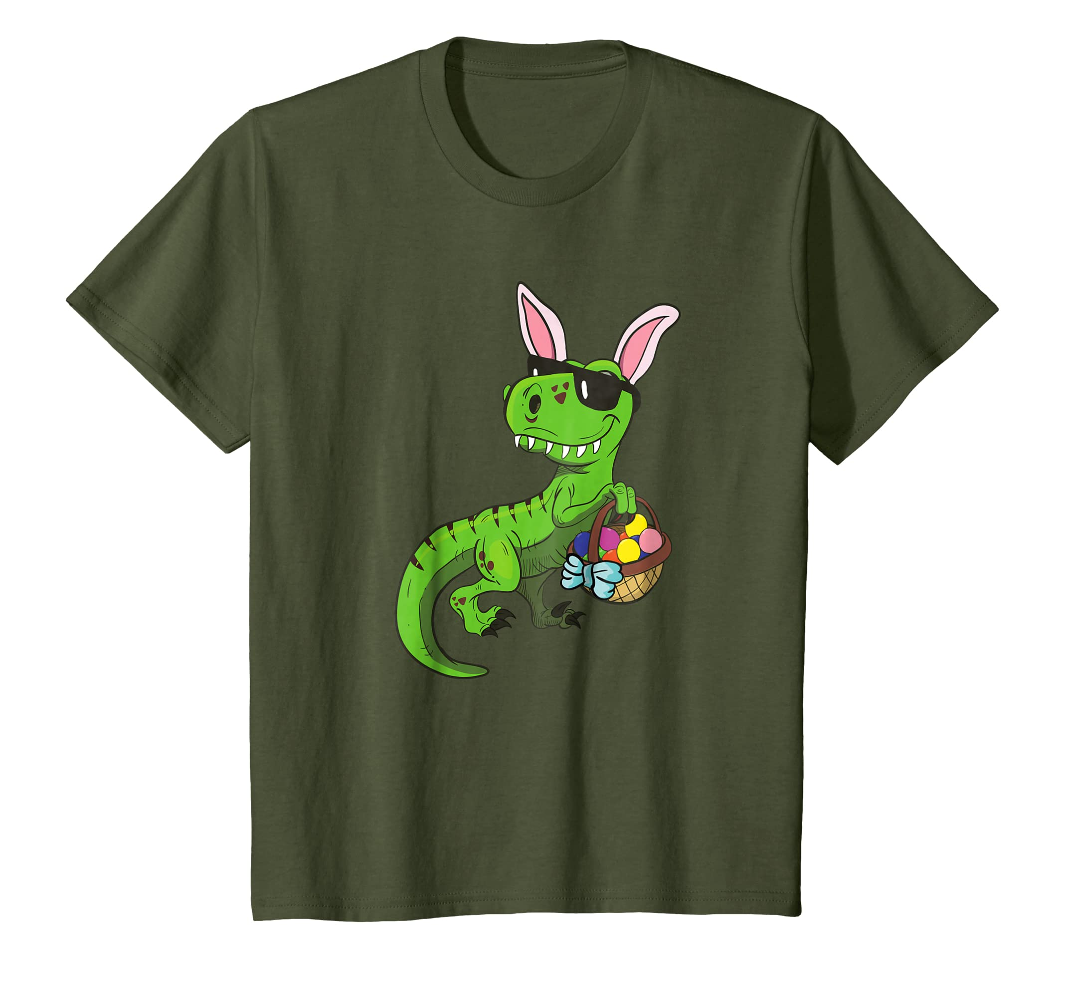 e178874ee Amazon.com: Kids Cool Easter Saurus T Rex Dinosaur Bunny TShirt Egg Hunt:  Clothing