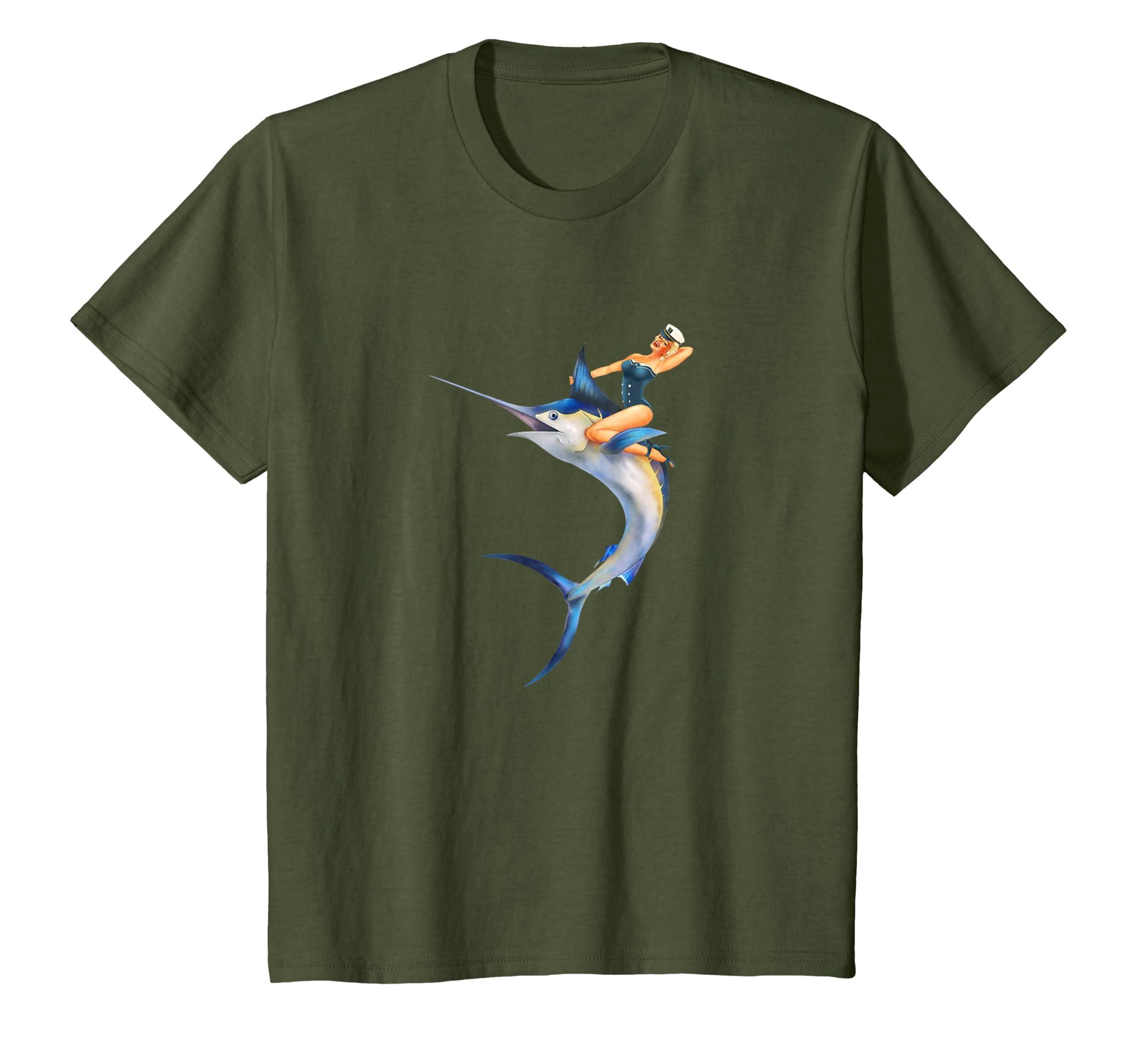 f55113f1c8 Amazon.com: Pin Up Sailor Girl Deep Sea Sport Fishing Gift T-Shirt: Clothing