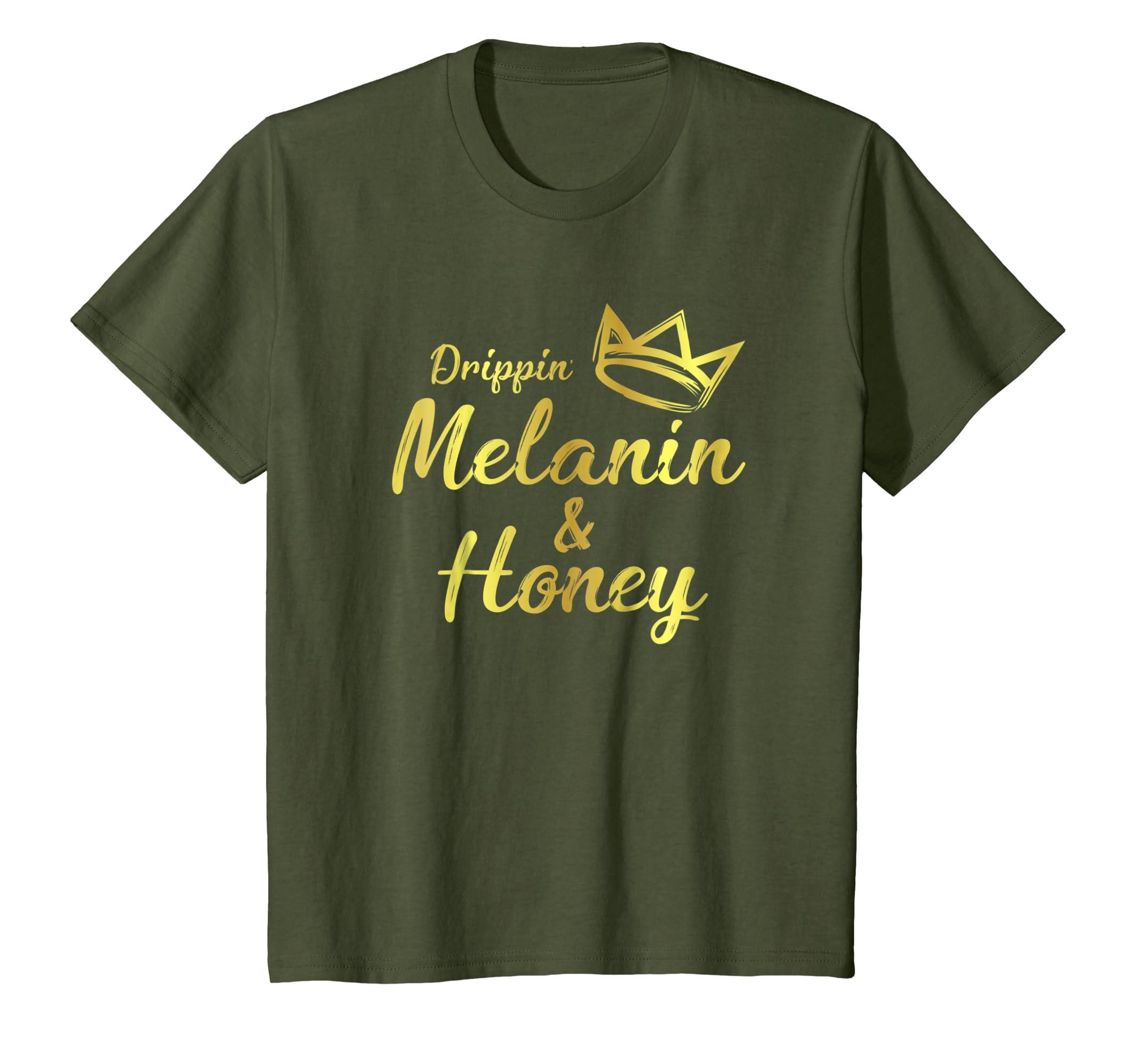 e01c6e13551 Amazon.com  Drippin Melanin Honey T-Shirt Ladies Black History Gift Tee   Clothing