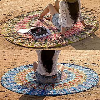 Folkulture Round Beach-Towel, Beach-Blanket, Mandala-Tapestry, Tablecloth, Cotton, Blue and Green/Mustard, 72 inches