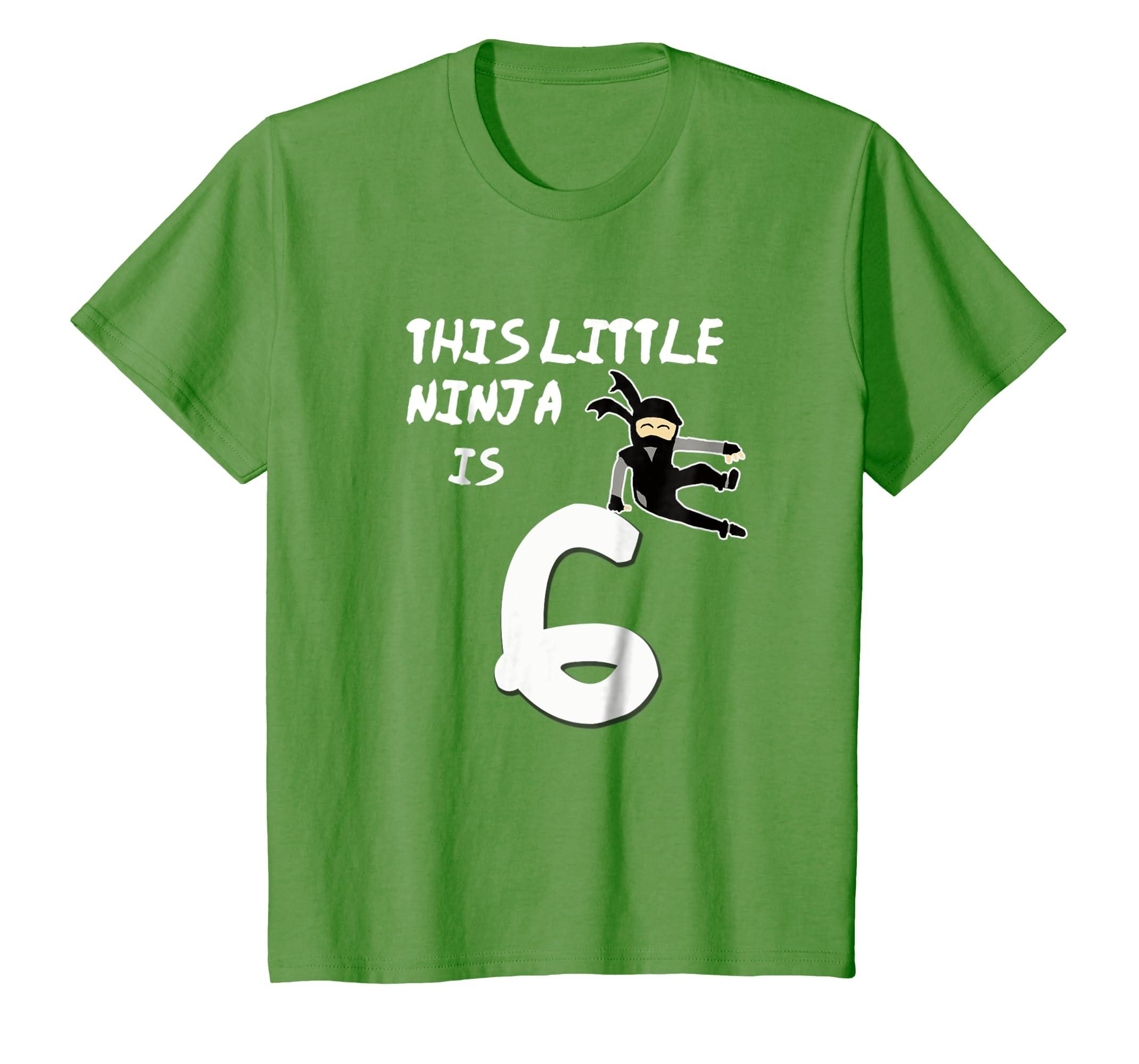 Amazon.com: Kids This Little Ninja Is 6 Years Old T-Shirt ...