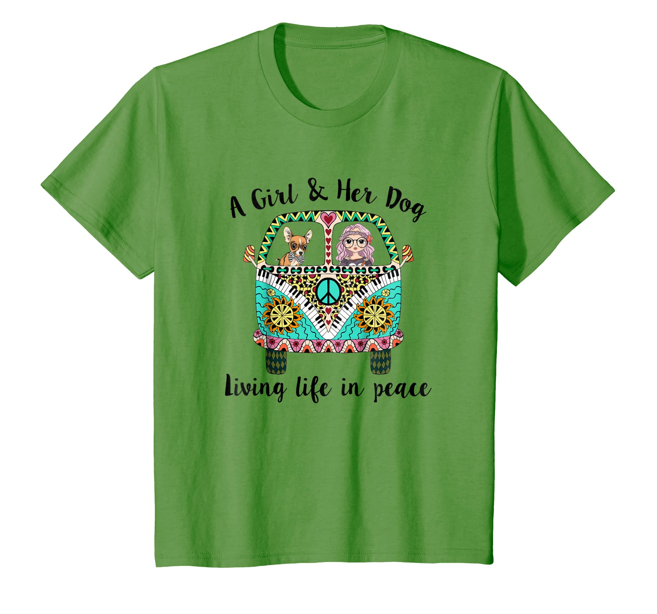 A girl and her dog living life in peace T shirt