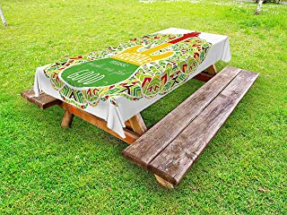 Ambesonne Rasta Outdoor Tablecloth, Reggae Music Makes Me Feel Words Jamaican Island Cultureic Guitar, Decorative Washable Picnic Table Cloth, 58