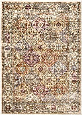 Tapis rectangulaire d'intérieur persan du vieux monde tissé , collection Séville, SEV815, en ivoire / multi, 122 X 170 cm pour le salon, la chambre ou tout autre espace intérieur par SAFAVIEH.