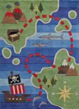 Momeni Rugs Lil' Mo Whimsy Collection, Kids Themed Hand Carved & Tufted Area Rug, 5' x 7', Treasure Map Green & Blue