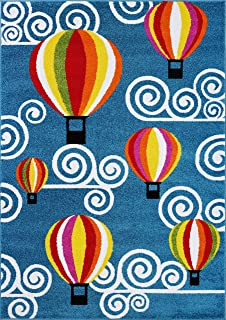 Ladole Rugs Hot Air Balloon Sky Design Durable Kids Area Rug Living Room Bedroom Entrance Hallway Carpet in Blue 4x6 (3'11