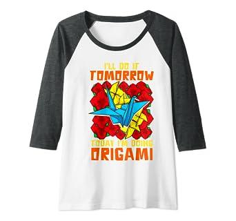 Grullas de papel de origami japonesas Camiseta Manga Raglan ...