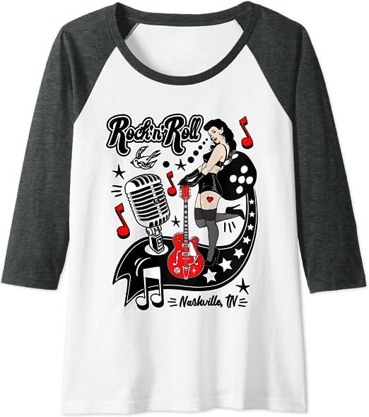 Camisetas Rockabilly Hombre Mujer Rock and Roll Retro Pinup Camiseta Manga Raglan