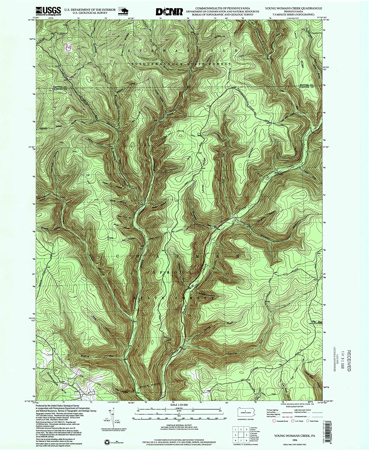 Young Womans Creek PA topo map, 1 24000 Scale, 7.5 X 7.5 Minute, Historical, 1994, Updated 1999, 26.8 x 22 in