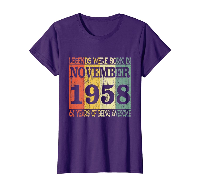 61st Birthday Gift Retro Legends Born In November 1958 T-Shirt