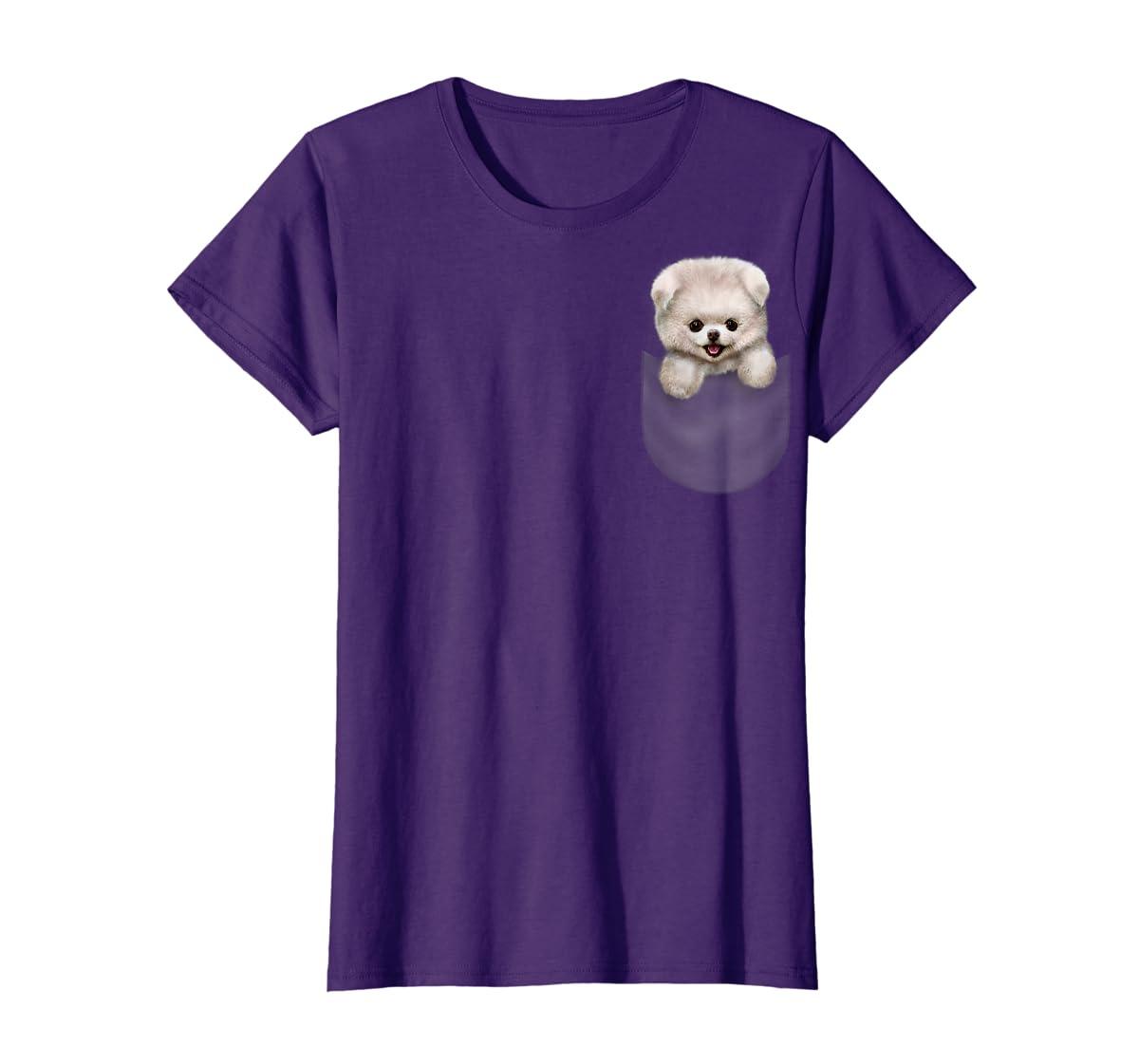 T-Shirt, Cute White Fluffy Pomeranian Puppy in Pocket, Dog-Women's T-Shirt-Purple