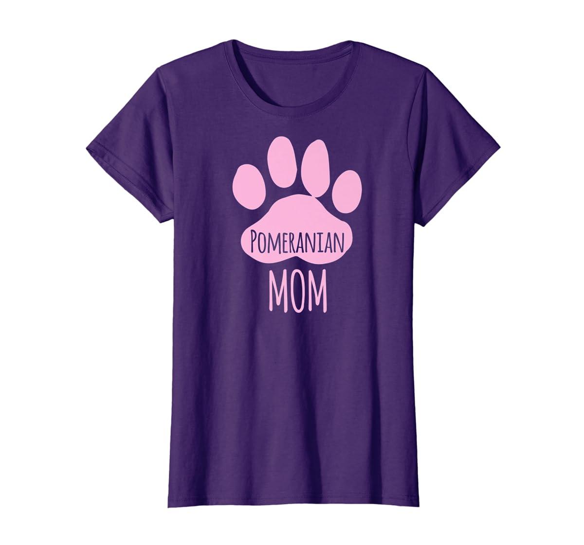 Cute Pomeranian Mom T Shirt for Pom Owner Dog Paw Pink-Women's T-Shirt-Purple