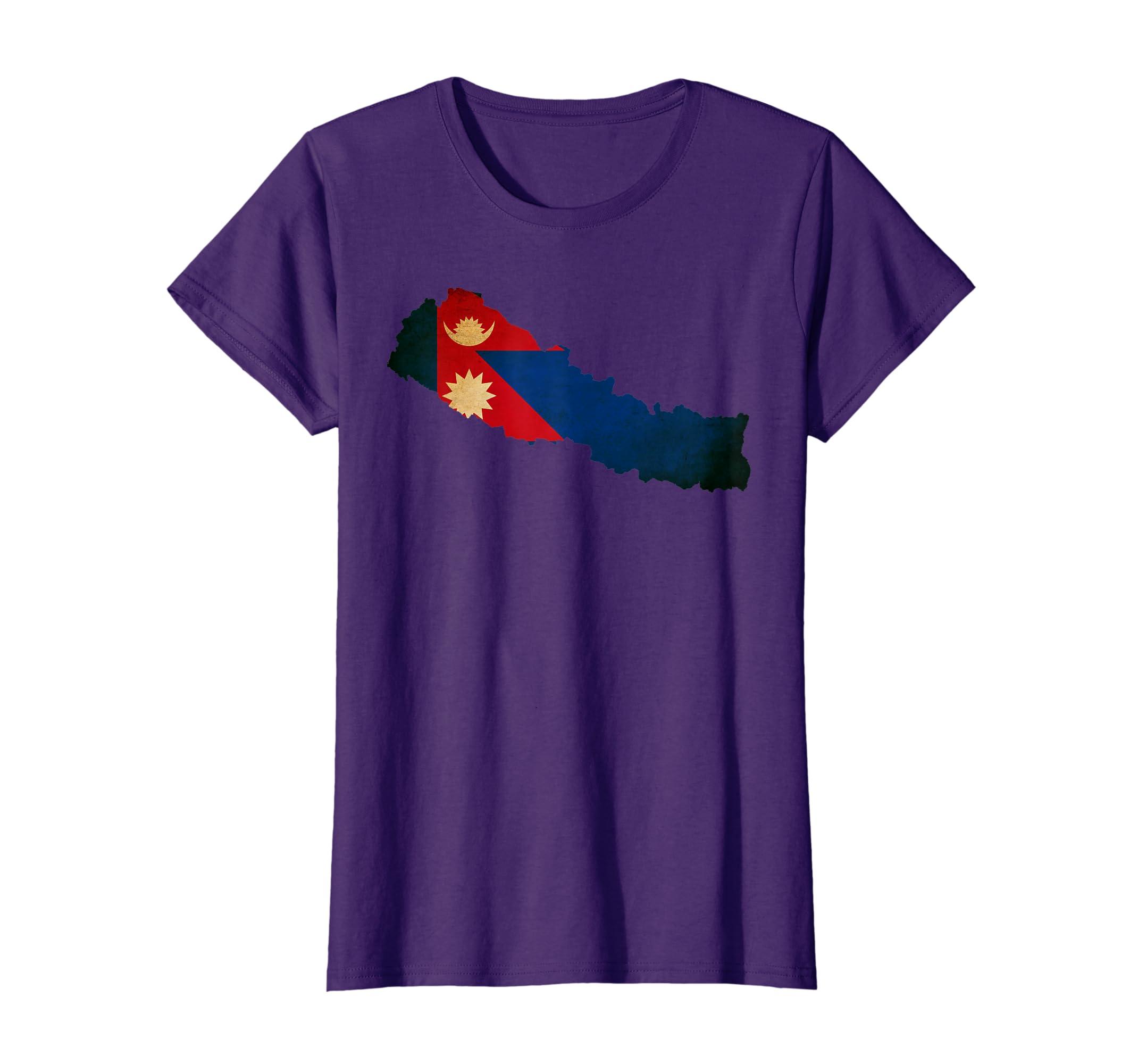 Amazon.com: Nepal Flag Map T Shirt: Clothing