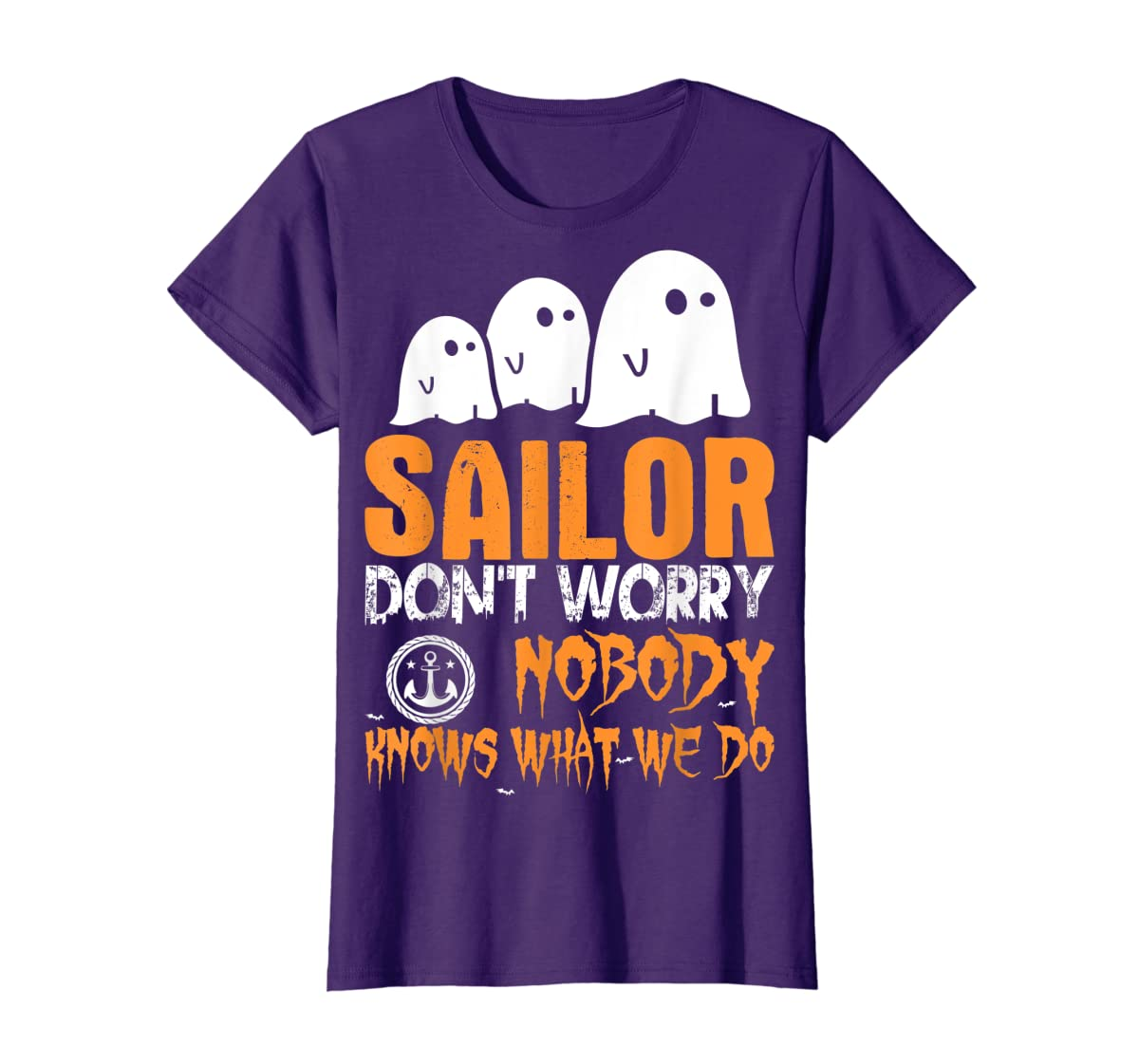 Sailor Nobody Knows What We Do Halloween T-Shirt-Women's T-Shirt-Purple
