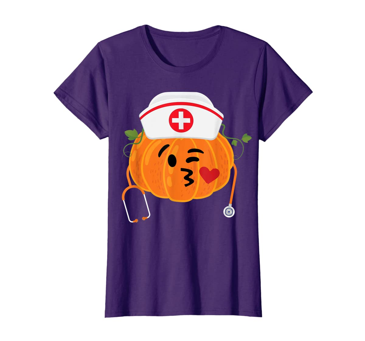 Nurse Stethoscope Pumpkin Funny Nursing Halloween Gift T-Shirt-Women's T-Shirt-Purple