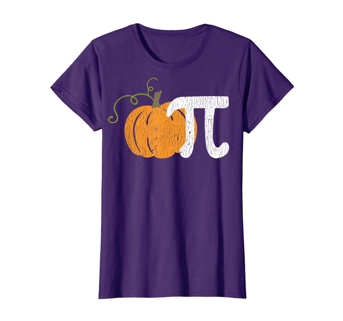 Funny Pumpkin Pie Math Teacher Halloween Pi Humor T-Shirt-Women's T-Shirt-Purple
